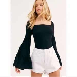 NWT $68 Free People Bell Sleeve Square Neck Top